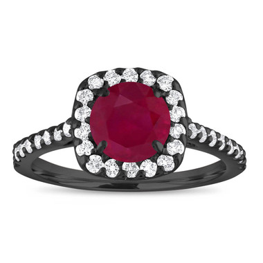 Ruby Engagement Ring Vintage, With Diamonds Bridal Ring, Red Ruby Wedding Ring, 1.57 Carat 14K Black Gold Certified Halo Pave Handmade