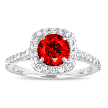 Red Diamond Engagement Ring, Fancy Red Diamond Bridal Ring, Cushion Cut Ring 1.57 Carat 14K White Gold Unique Halo Certified Handmade