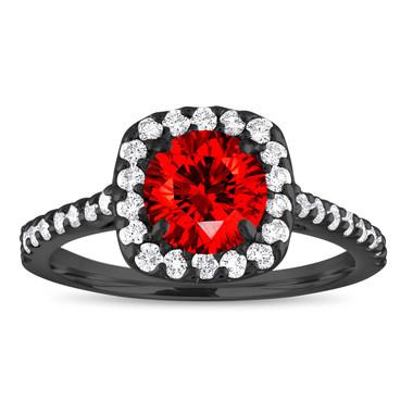 Vintage Red Diamond Engagement Ring, Fancy Red Diamond Wedding Ring, Cushion Cut Ring 1.57 Carat 14K Black Gold Unique Certified Handmade