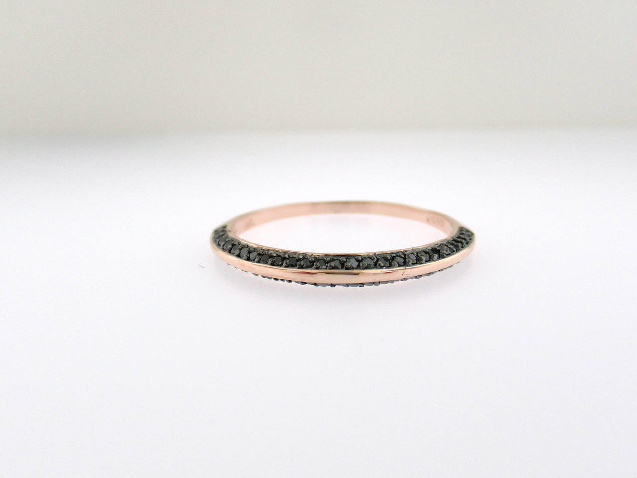 Black Diamond Wedding Ring Half Eternity Wedding Band Rose Gold