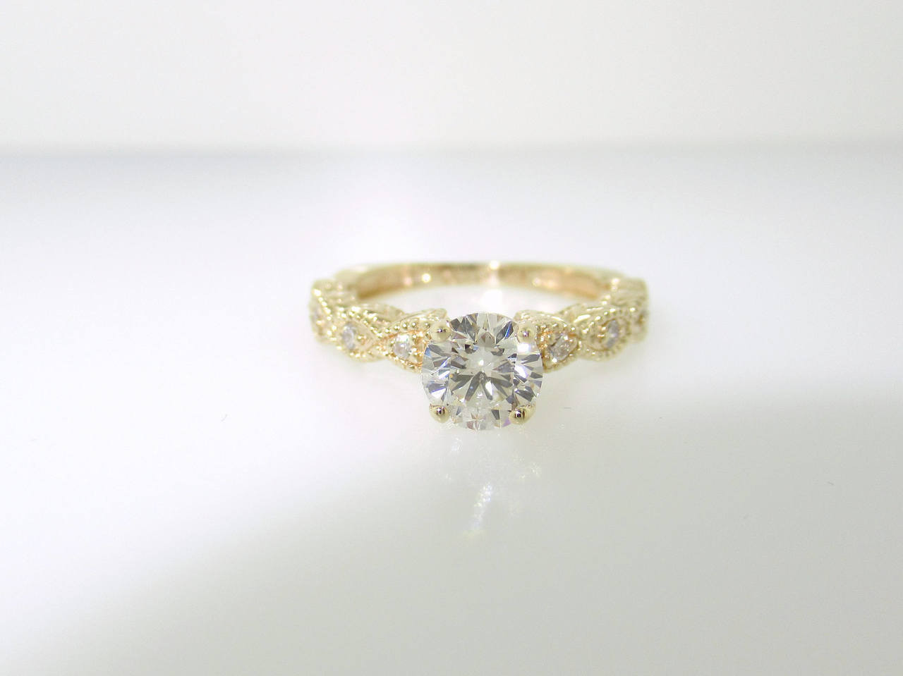Vintage Engagement Ring Yellow Gold, Diamond Engagement Ring, Bridal Ring,  Vintage Wedding Ring 0.60 Carat GIA Certified Unique Handmade