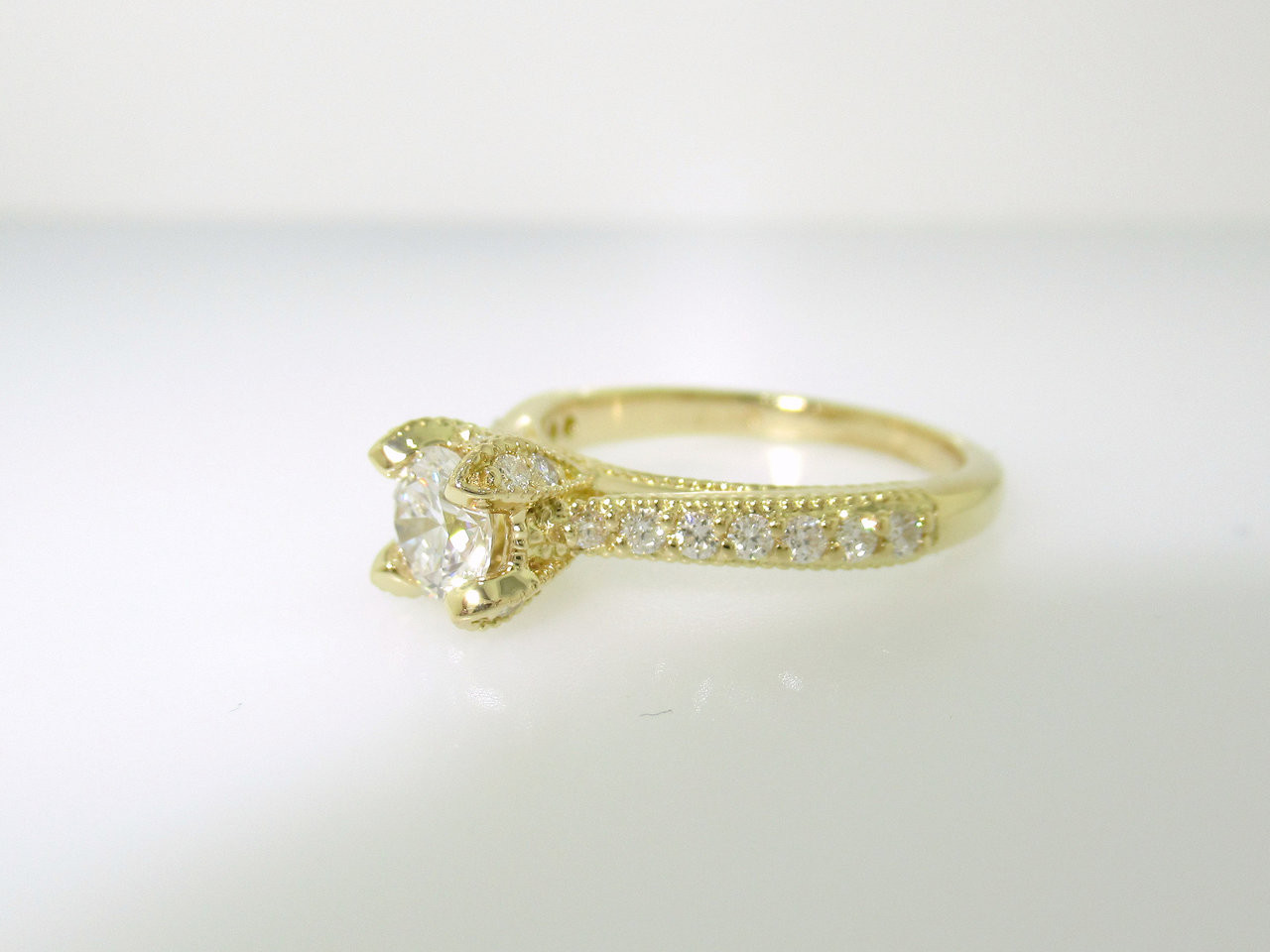 55f842327efc4 Diamond Engagement Ring 18k Yellow Gold, Vintage Engagement Ring, Diamond  Bridal Ring, GIA Certified 0.80 Carat Wedding Ring Unique Handmade