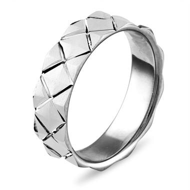 Mens Wedding Band White Gold, Womens Wedding Ring, Criss Cross 6 mm Matte Finish Wedding Band, 14K White Gold Unique