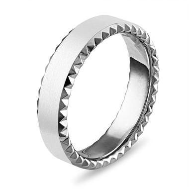 Mens Wedding Band 14k White Gold, Womens Wedding Ring, 6 mm Matte Finish Wedding Band, Unique