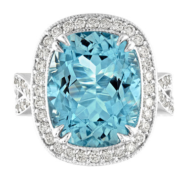 9.41 Carat Aquamarine Engagement Ring, One of a Kind Cushion Cut Diamond Wedding Anniversary Cocktail Ring, White Gold Large Unique Handmade