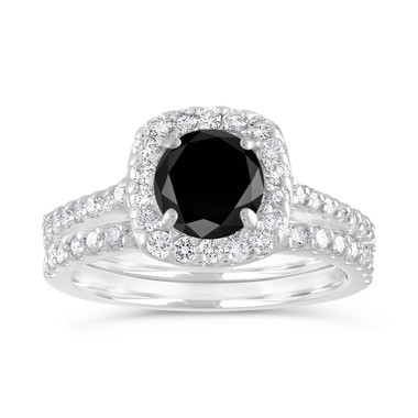 2 Carat Black Diamond Engagement Ring Set, Diamond Wedding Ring Sets, Cushion Cut Ring, 14K White Gold Halo Pave Certified Handmade