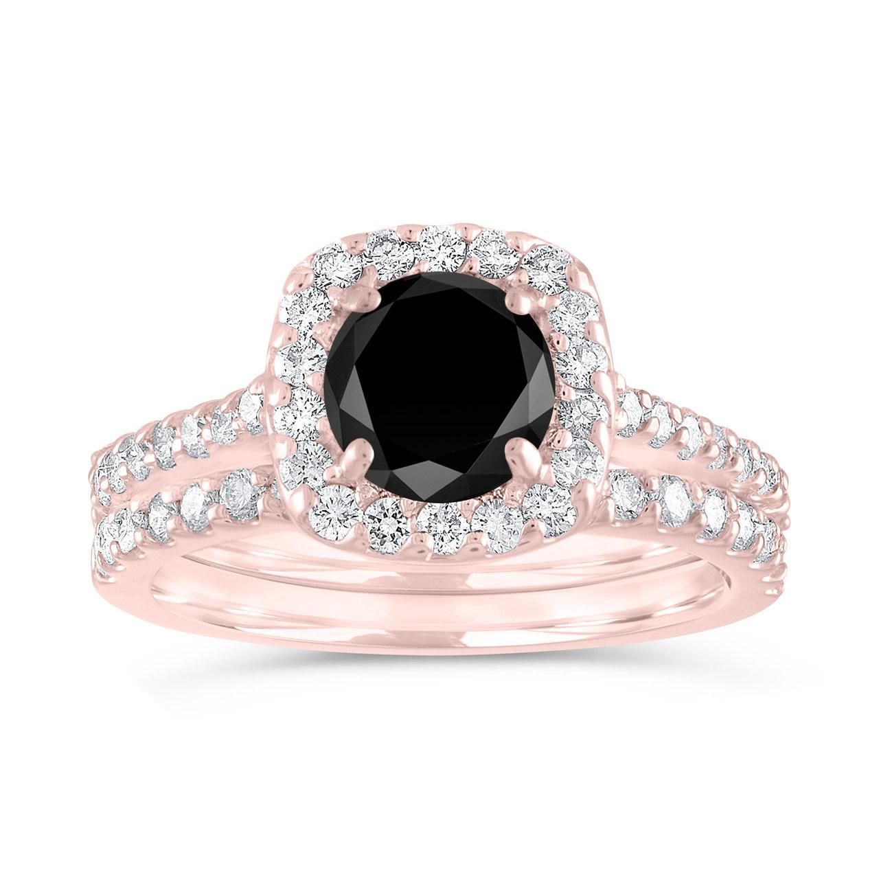 Black Diamond Engagement Ring Set Rose Gold 2 Carat Diamond Wedding