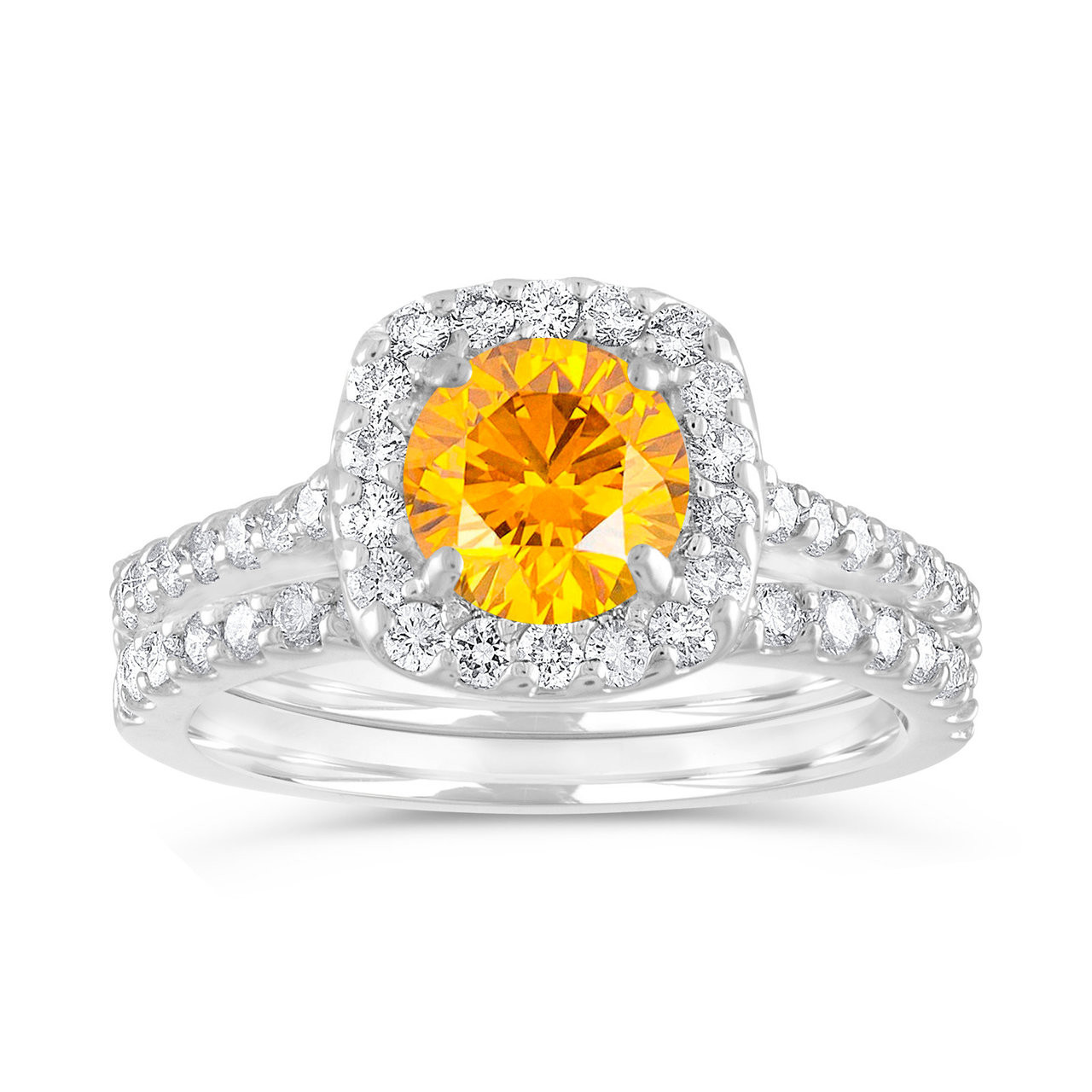 Jewelry & Watches Fancy Yellow 2 Carat Cushion Cut Diamond Engagement Ring Gia Certified 14k Gold Products Are Sold Without Limitations Fine Rings