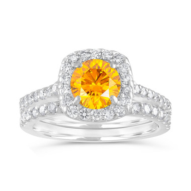 Yellow Diamond Engagement Ring Set, Canary Diamond Wedding Sets, Cushion Cut Ring 1.87 Carat 14K White Gold Unique Halo Certified Handmade
