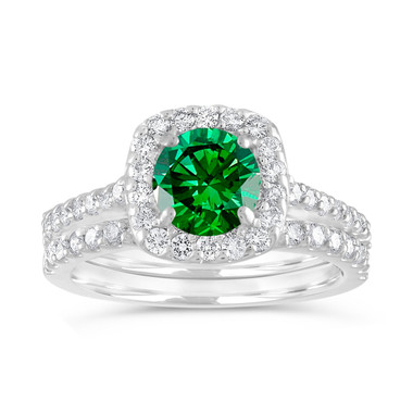 Green Diamond Engagement Ring Set, Fancy Diamond Wedding Ring Sets, Cushion Cut 1.87 Carat 14K White Gold Unique Halo Certified Handmade