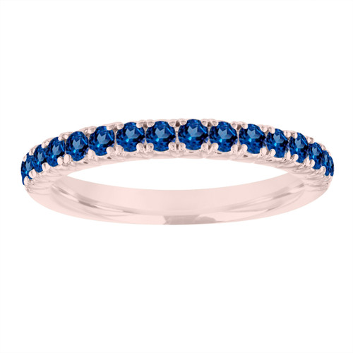 Sapphire Wedding Ring Rose Gold, Blue Sapphire Wedding Band, Sapphire Anniversary Ring, Stackable Gold Ring, 0.50 Carat Certified Handmade