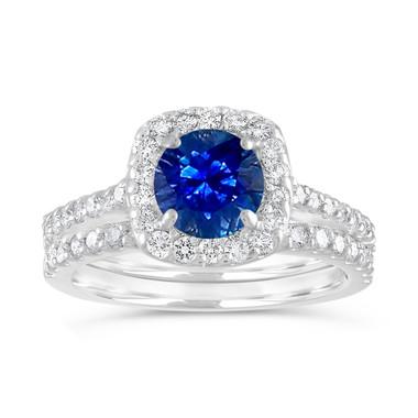 Sapphire Engagement Ring Set, Blue Sapphire & Diamonds Wedding Ring Sets, Cushion Cut Ring 14K White Gold 1.86 Carat Certified Pave Handmade