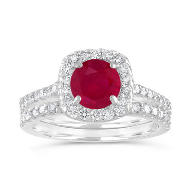 Ruby Engagement Ring Set, Ruby and Diamonds Wedding Ring Sets, Cushion Cut Bridal Rings, 1.86 Carat 14K White Gold Certified Halo Handmade