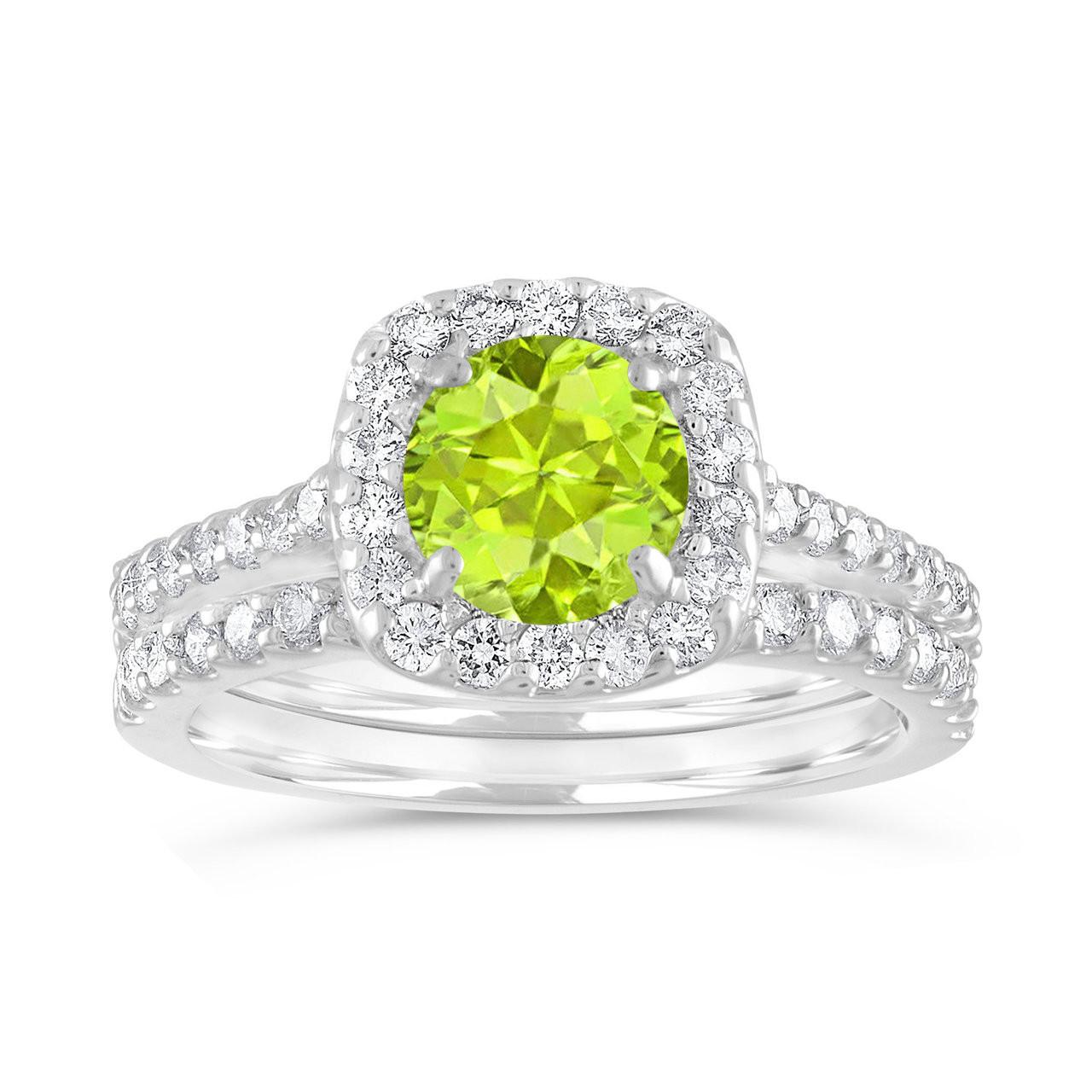 Peridot Engagement Ring Set Green Peridot And Diamonds Wedding