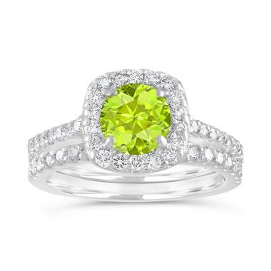 Peridot Engagement Ring Set, Green Peridot and Diamonds Wedding Rings Sets, 1.86 Carat 14K White Gold Certified Halo Pave Handmade