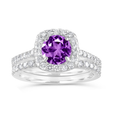 Amethyst Engagement Ring Set, Purple Amethyst and Diamonds Wedding Ring Sets, 1.86 Carat Cushion Cut 14K White Gold Certified Halo Handmade