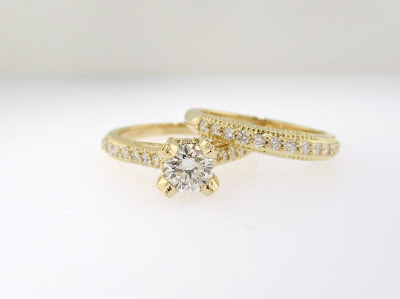 Diamond Engagement Ring Set 18k Yellow Gold Vintage Wedding Ring