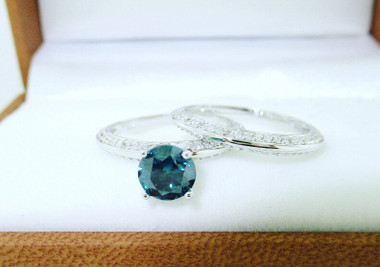 1.55 Carat Blue Diamond Engagement Ring Set, Blue Diamond Wedding Rings Sets, Knife Edge Rings, 14K White Gold Micro Pave Unique Handmade