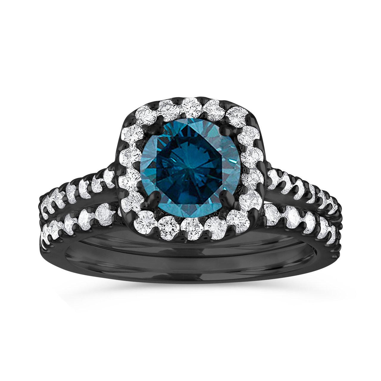 Blue Diamond Engagement Ring Set Halo Engagement Ring Set Vintage