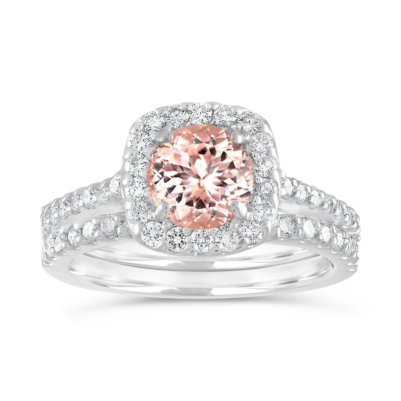 Morganite Wedding Set.Morganite Engagement Ring Set Cushion Cut Peach Pink Morganite Wedding Ring Set 14k White Gold Halo Pave 1 76 Carat Certified Handmade