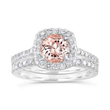 Morganite Engagement Ring Set, Cushion Cut Peach Pink Morganite Wedding Ring Set, 14K White Gold Halo Pave 1.76 Carat Certified Handmade