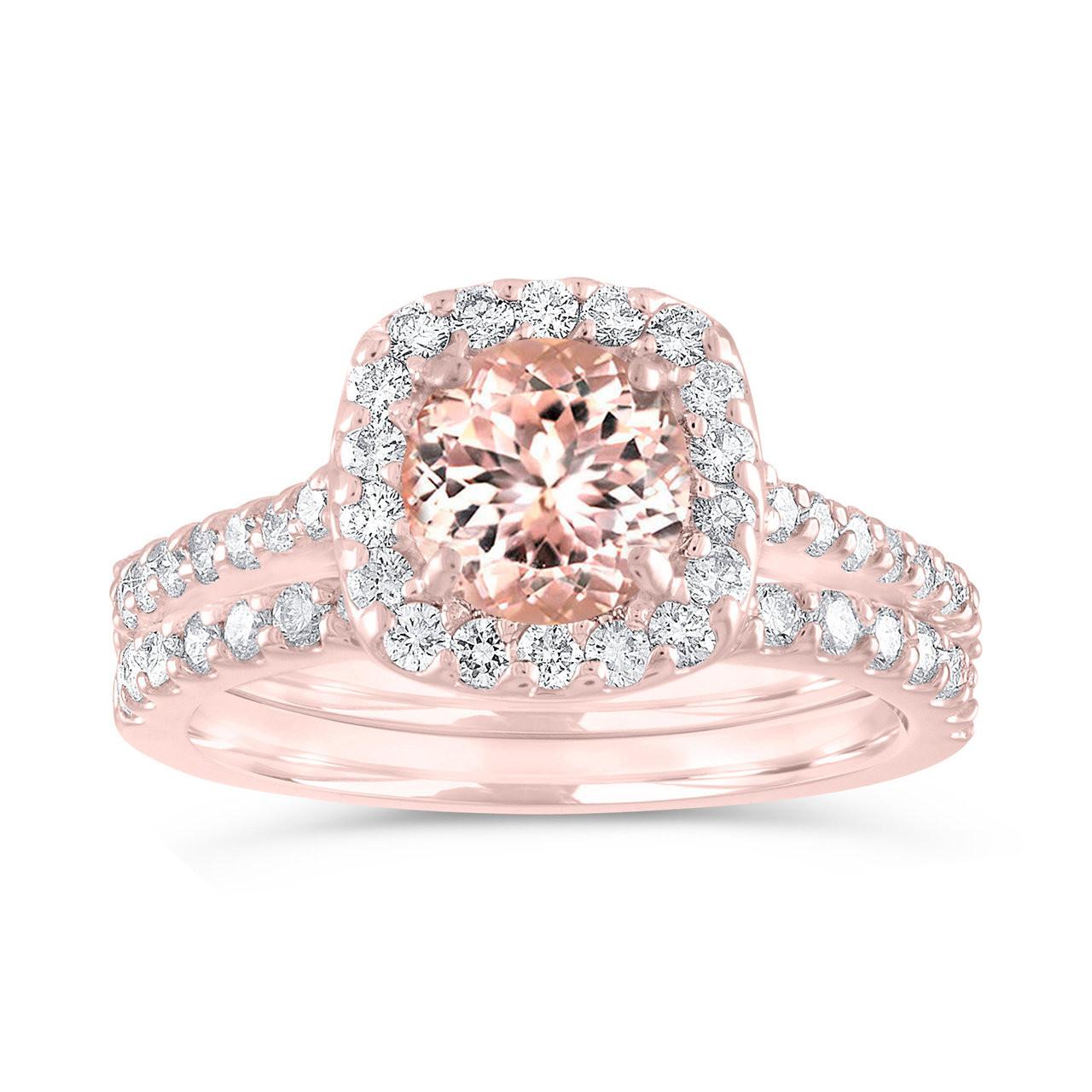 43fafb916 Morganite Engagement Ring Set Rose Gold, Pink Morganite and ...