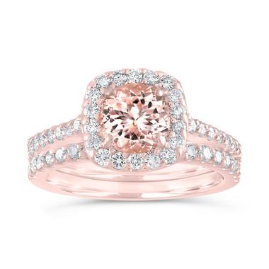 Morganite Engagement Ring Set Rose Gold, Pink Morganite and Diamonds Bridal Rings Set, Wedding Ring Sets, 1.76 Carat Certified Pave Handmade