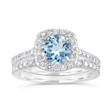 Aquamarine Engagement Ring Set, Aquamarine and Diamonds Wedding Ring Set, 14k White Gold 1.72 Carat Certified Halo Pave Handmade