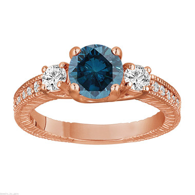 Blue Diamond Engagement Ring Rose Gold, Unique Diamonds Bridal Ring, Vintage Wedding Ring 1.38 Carat Antique Style Engraved Handmade