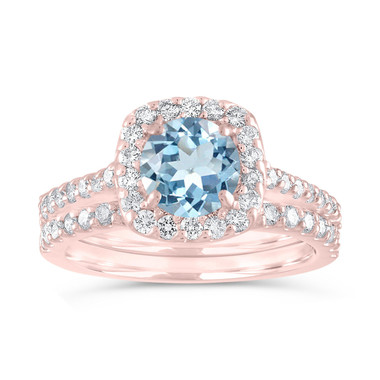 Aquamarine Engagement Ring Set, Aquamarine and Diamonds Bridal Ring Set Rose Gold, Wedding Rings, 1.72 Carat Certified Halo Pave Handmade