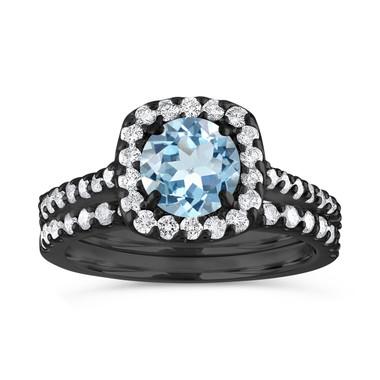 Aquamarine Engagement Ring Set Vintage, Aquamarine and Diamonds Wedding Ring Sets, 1.72 Carat 14K Black Gold Certified Halo Handmade