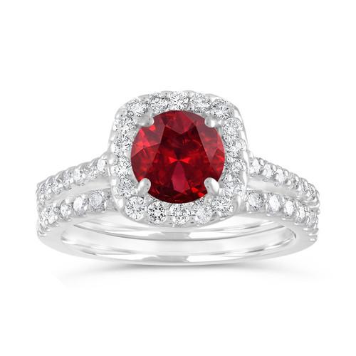 Garnet Engagement Ring Set, Garnet & Diamonds Wedding Ring Set, Red Garnet Bridal Ring, 14K White Gold 2.00 Carat Certified Halo Handmade