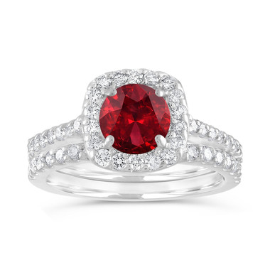Garnet Engagement Ring Set, Garnet & Diamonds Wedding Ring Set, Red Garnet Bridal Ring, 14K White Gold 2.00 Carat Certified Halo Handmade