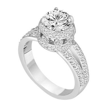 Diamond Engagement Ring Platinum, 1.52 Carat Diamond Bridal Ring, GIA Certified Diamond Wedding Ring, Unique Halo Pave Handmade