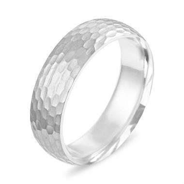 Hammered Finish Wedding Band, Hammered Mens Wedding Ring White Gold, Womens Matte Finish Wedding Ring, 6 mm Wedding Band, Unique