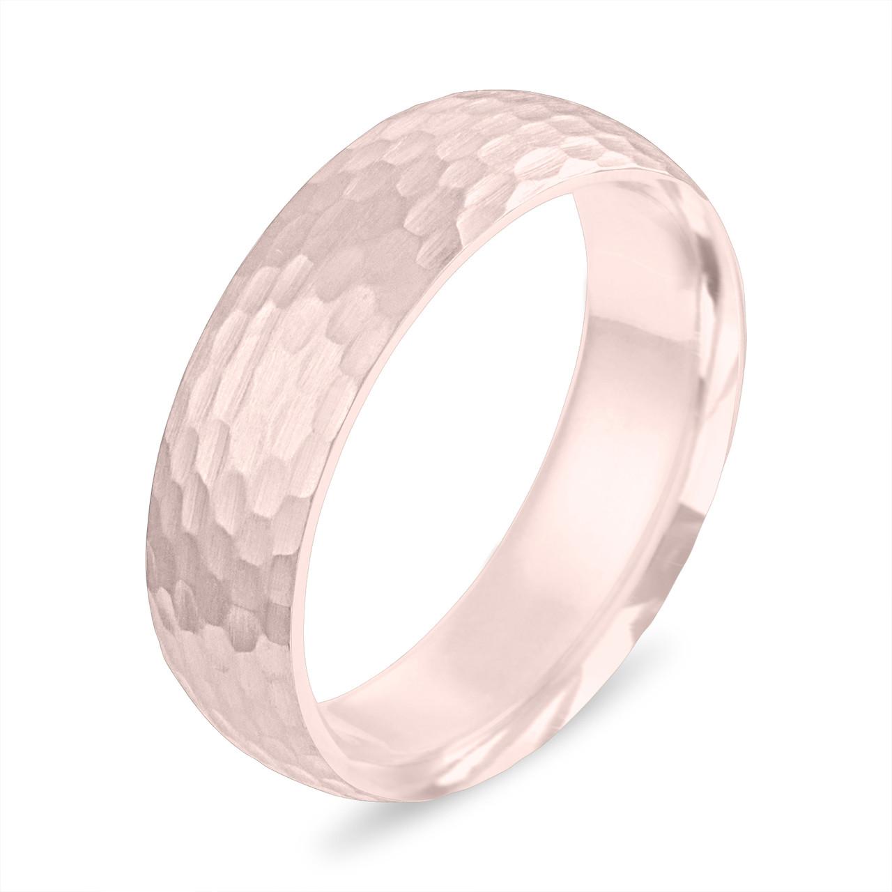 Hammered Finish Wedding Band Mens Wedding Ring Rose Gold Womens