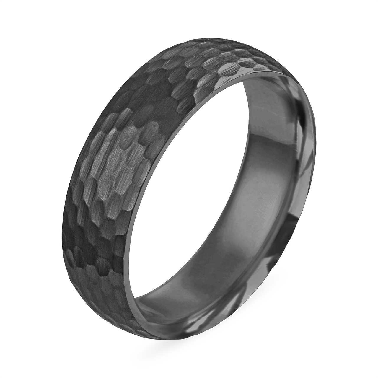 Hammered Finish Wedding Band Black Gold Mens Wedding Ring