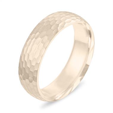 Hammered Wedding Band Yellow Gold, Mens Wedding Ring, Womens Matte Finish Wedding Ring, 6 mm Wedding Band, Unique