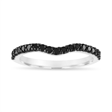 Black Diamond Matching Wedding Band, Curve Anniversary Ring, 14K White Gold handmade 0.35 Carat