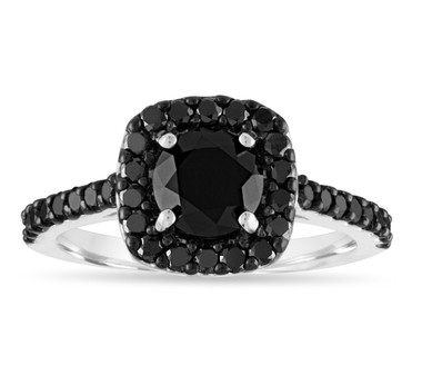 Black Diamond Engagement Ring White Gold, Cushion Cut Engagement Ring, Diamond Bridal Ring, 1.70 Carat Unique Halo Pave Certified Handmade