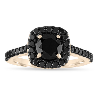 Black Diamond Engagement Ring Yellow Gold, Black Diamond Wedding Ring, Diamond Bridal Ring, 1.70 Carat Unique Halo Pave Certified Handmade