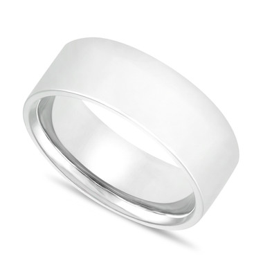 Platinum Mens Wedding Band, Flat Wedding Ring, 8 mm Wedding Band, Handmade