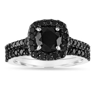 Black Diamond Engagement Ring Set, Wedding Rings Sets, 14k White Gold 2.05 Carat Unique Halo Pave Certified Handmade