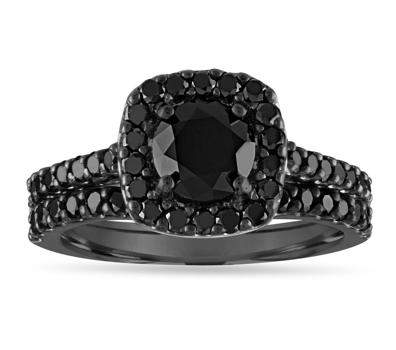 2 05 Carat Black Diamond Engagement Ring Set Black Gold Bridal Sets