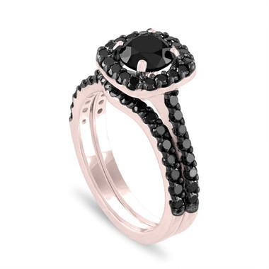 Black Diamond Engagement Ring Set, Wedding Ring Sets, Bridal Ring Sets, 14K Rose Gold 2.05 Carat Unique Halo Pave Certified Handmade