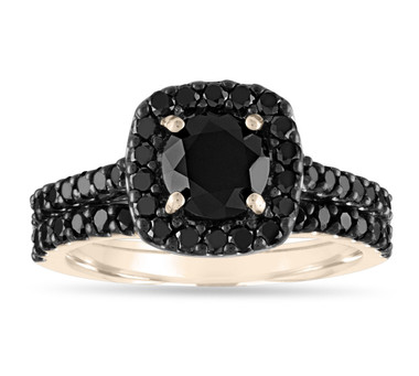 Black Diamond Engagement Ring Set, 14K Yellow Gold Black Diamond Wedding Ring, Sets, 2.05 Carat Unique Halo Pave Certified Handmade