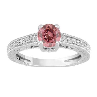 Pink Diamond Engagement Ring, Fancy Pink Diamond Wedding Ring, 14K White Gold Vintage Antique Style Engraved 0.69 Carat Certified HandMade