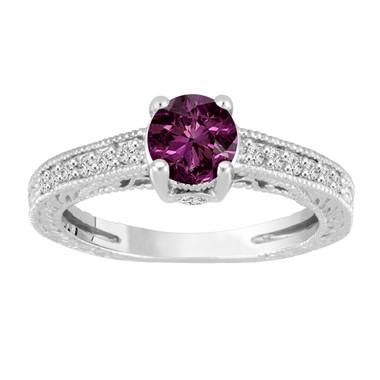 Purple Diamond Engagement Ring, Vintage Wedding Ring, 14K White Gold Antique Style Engraved 0.70 Carat Certified Handmade