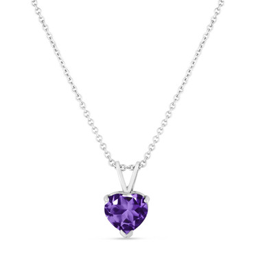 Amethyst Pendant Necklace, Heart Pendant Necklace, Heart Shape Solitaire Pendant Necklace, 1.02 Carat 14K White Gold HandMade
