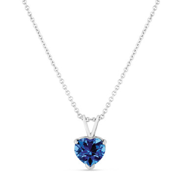 Blue Topaz Pendant Necklace, Heart Shape Pendant Necklace, Solitaire Love Pendant Necklace, 1.30 Carat 14K White Gold Handmade
